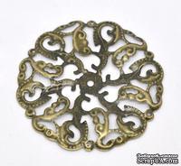 """Металлическое украшение """"Круг"""", 44мм, античная бронза, 1 шт."""
