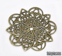 """Металлическое украшение """"Цветок"""", 46мм x 46мм, античная бронза, 1 шт."""