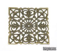 """Металлическое украшение """"Квадрат ажурный"""", 40мм x 40мм, античная бронза, 1 шт."""