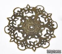 """Металлическое украшение """"Цветок ажурный"""", 5.5см, античная бронза, 1 шт."""