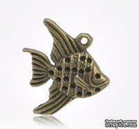 """Металлическое украшение/подвеска """"Золотая рыбка"""" 21мм x 19мм, античная бронза, 1 шт."""