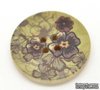 Деревянная пуговица Green Flower B15110, диаметр 30 мм, 1 шт.
