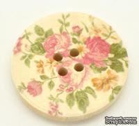 Деревянная пуговица Flower B15344, диаметр 30 мм, 1 шт.