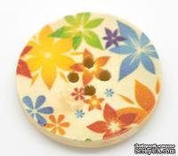 Деревянная пуговица Multicolor Flower Pattern  B15464, диаметр 3 см, 1 шт.