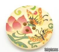 Деревянная пуговица Multicolor Butterfly Pattern B15465, диаметр 3 см, 1 шт.