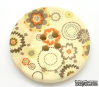 Деревянная пуговица Multicolor Flower Pattern  B15466, диаметр 3 см, 1 шт.