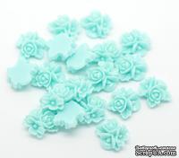 """Кабошон """"Цветок"""", цвет голубой, размер 16х16 мм, 1 шт."""