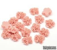"""Кабошон """"Цветок"""", цвет розовый, размер 16х16 мм, 1 шт."""