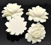 """Кабошон """"Цветок"""", цвет белый, размер 46х36 мм, 1 шт."""