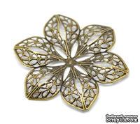 """Металлическое украшение """"Цветок ажурный"""", 6см x 5.3см, античная бронза, 1 шт."""