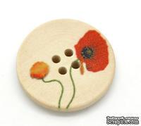 Деревянная пуговица Flower Pattern B16372, диаметр 25 мм, 1 шт.
