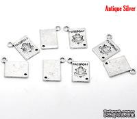 "Металлическое украшение ""Паспорт"", серебро, размер 18х12 мм, 1 шт."