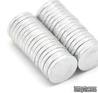 Круглый магнитик, 10мм, супер-сильный, цвет серебро, 1 шт.
