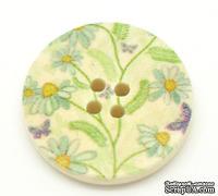 Деревянная пуговица Multicolor Flower B17365, диаметр 25 мм, 1 шт.