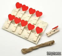 """Декоративные деревянные прищепки (фотодержатели) """"Cute Heart"""", 36х18 мм, 2 шт."""