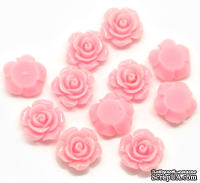"""Кабошон """"Роза"""", цвет розовый, размер 14х6 мм, 1 шт."""