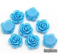 """Кабошон """"Роза"""", цвет голубой, размер 14х6 мм, 1 шт."""