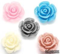 "Кабошон ""Розочка"", цвет: голубой,  14*6 мм, 1 шт."