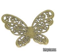 """Металлическое украшение """"Бабочка ажурная"""", 4.3см x 3.3см, античная бронза, 1 шт."""