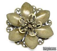 """Металлическое украшение """"Цветок"""", 4.5см x 4.2см, античная бронза, 1 шт."""