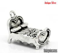 """Металлическое украшение/подвеска """"Кровать - sweet dreams"""", 25х15мм античное серебро, 1 шт."""