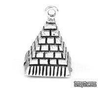 """Металлическое украшение/подвеска """"Пирамида"""", 20х13мм, античное серебро, 1 шт."""