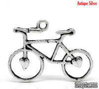 """Металлическое украшение/подвеска """"Велосипед"""", 31х23мм античное серебро, 1 шт."""
