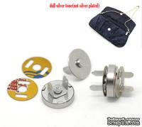Магнитная застежка для сумочки/альбома, 14мм, цвет серебряный, 1 комлект-4 детали
