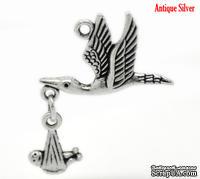 """Металлическое украшение/подвеска """"Полет аиста"""", античное серебро, 1 шт."""