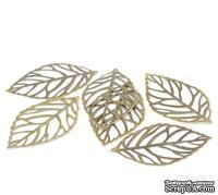 """Металлическое украшение """"Лист"""" 6,4х3,7см,  античная бронза, 1 шт."""