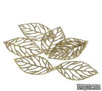 """Металлическое украшение """"Лист"""" 4,4х2,6см,  античная бронза, 1 шт."""