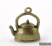 """Металлическое украшение/подвеска """"Чайник"""", 19х16мм, античная бронза, 1 шт."""