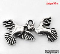 """Металлическое украшение/подвеска """"Птица и сердце"""", 25х12мм, античное серебро, 1 шт."""