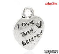 """Металлическое украшение/подвеска """"Сердце"""", """"love and beloved"""", 12х10мм, античное серебро, 1 шт."""