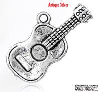 """Металлическое украшение/подвеска """"Гитара"""", 25х12мм, античное серебро, 1 шт."""