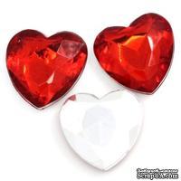 """Акриловое украшение """"Сердце"""", 17*16мм, цвет красный, 5 шт."""