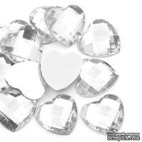 """Акриловое украшение """"Сердце"""", 17*16мм, цвет белый, 5 шт."""