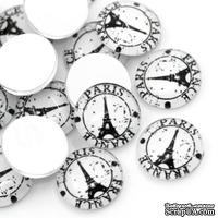 "Стеклянный кабошон ""Париж Эйфелева Башня"", 16мм, 1 шт."