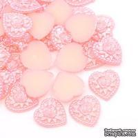 Сердце, имитация жемчуга, 18х17мм, цвет розовый, 1 шт. - ScrapUA.com