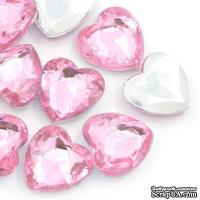"""Акриловое украшение """"Сердце"""", 17*16мм, цвет розовый, 5 шт."""