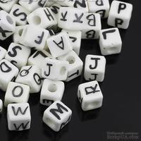 Бусины Алфавит - керамические кубики с буквами, цвет: белый, 10.0мм x 10.0мм, 4.0мм, 20 шт., B31595