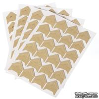 Крафт-уголки, Papper Retro Self Adhesive Photo Corner For DIY Crafts 12.5см x 9см, 1 лист - 24шт.