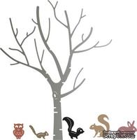 Нож для вырубки от Cheery Lynn Designs - Birch Tree with Cute Critters