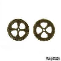 Металлическая шестеренка, цвет античная бронза, диаметр 15 мм, 1 шт.