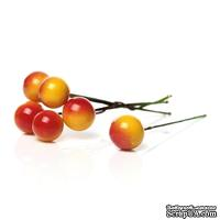 Ягодки круглые на ножке, желто-красные, 6.6 см х 12мм, 10шт.