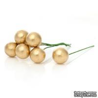 Ягодки круглые на ножке, цвет золотой, 6.0 см х 13 мм, 10шт.