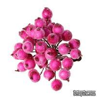 Ягодки круглые в осыпке, цвет фуксия, 16.0 см х 12 мм, по 2 шт. на стебельке, всего 40шт.