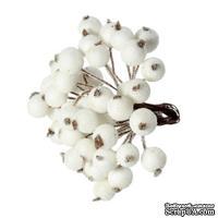 Ягодки круглые в осыпке, цвет белый, 15 см х 12 мм, по 2 шт. на стебельке, всего 40шт.