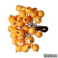 Ягодки круглые в осыпке, цвет оранжевый, 14 см х 12 мм, по 2 шт. на стебельке, всего 40шт.