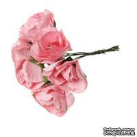 Розочки, цвет розовый, диаметр 25-30 мм, длина - 8 см, 6шт.